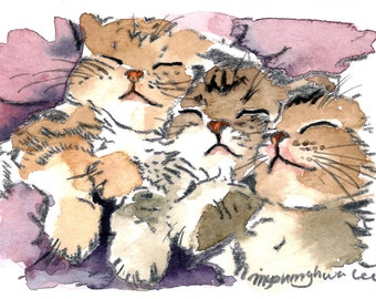 ACEO Limited Edition 9/10- Quiet Kittens, in watercolor