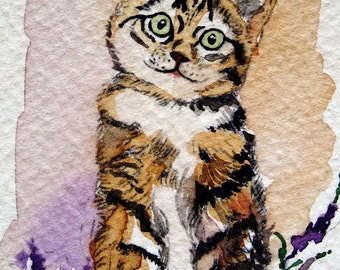 ACEO Limited Edition 4/10- ~Curiously Silly Cat~ in watercolor