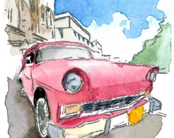 ACEO Limited Edition - Old Car I, in watercolor