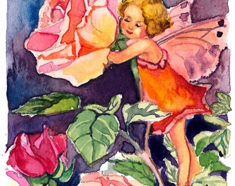 ACEO Limited Edition 7/10- Rose fairy inspired by CM Barker, in watercolor