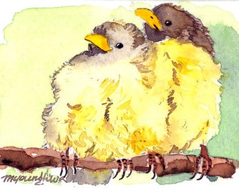 ACEO Limited Edition- ~Spring Chicks~ in watercolor
