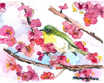 ACEO Limited Edition 6/25 - A Cherry Blossom Day, in watercolor