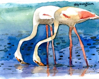 A Pair of One, ACEO Limited Edition 1/25, Flamingo art print