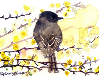 ACEO Limited Edition 9/10- In a Thorn Tree, in watercolor