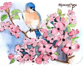 ACEO Limited Edition- Bluebird and Flowering Dogwood, in watercolor