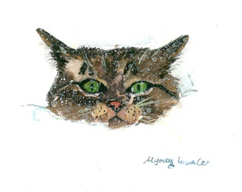 ACEO Limited Edition 4/10- Kitten in snow, Art print of an original watercolor, Gift idea for cat lovers, Cat in snow