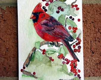 ACEO Limited Edition 7/10- Cardinal in a Red-Berry Tree, Art print of an original watercolor painting, Bird art, Gift idea, Collectible art