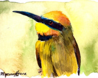 ACEO Limited Edition  1/25- Pointedly Ingulfed, in watercolor.