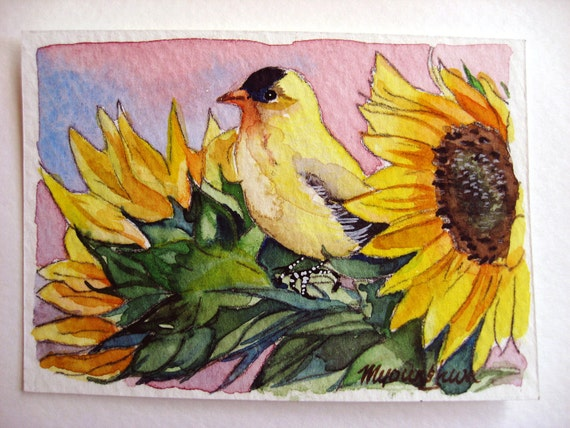 ACEO Limited Edition 10/10- Goldfinch and Sunflowers, in watercolor