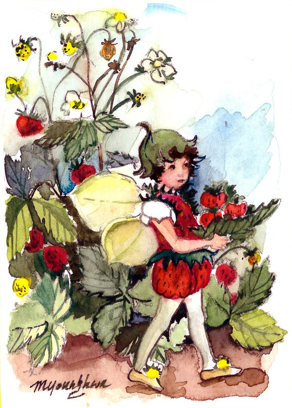 ACEO Limited Edition - strawberry fairly after Cicely Mary Barker, in watercolor