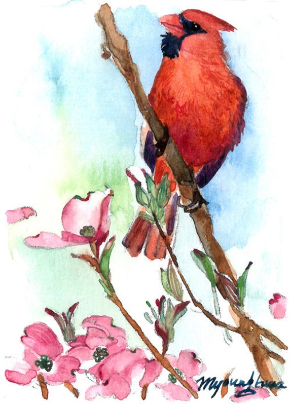 ACEO Limited Edition 5/10- Cardinal on a dogwood tree, Cardinal bird Art print of an ORIGINAL ACEO watercolor painting, Gift for bird lovers