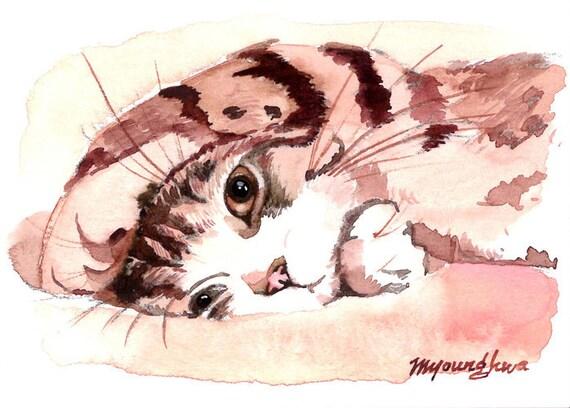 ACEO Original- Peek-a-boo, in watercolor