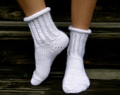 Hand-knitted White Soft Lacy Socks