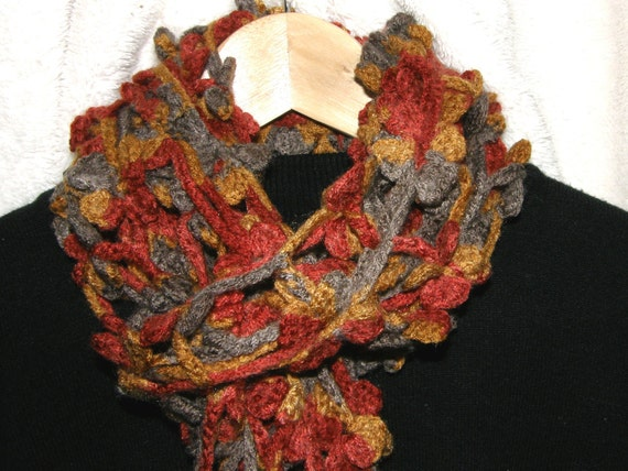Crocheted multicolor flower scarf