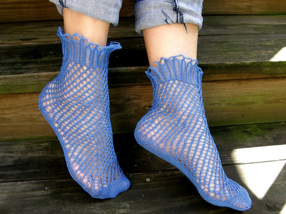 Blue hand-knitted Lacy Summer Socks