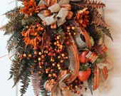 Lg. Fall Front Door Wreath,  Country Sunflowers, Beautiful Crabapples & Gourds -- FREE SHIPPING