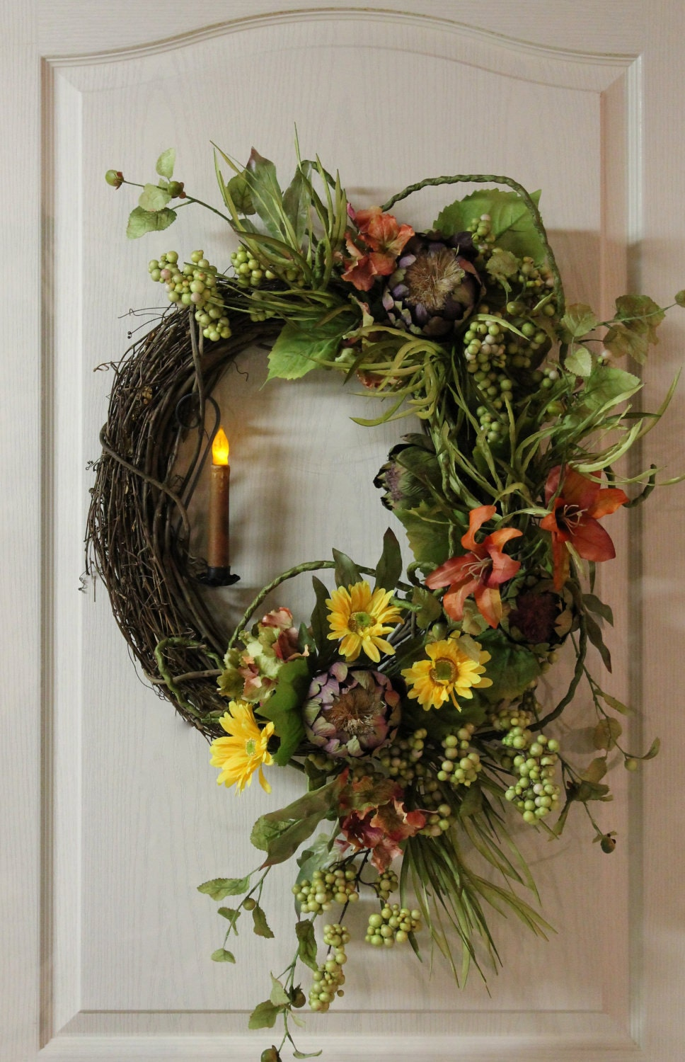 Items similar to front door wreath country candle wreath for How to make christmas door wreaths