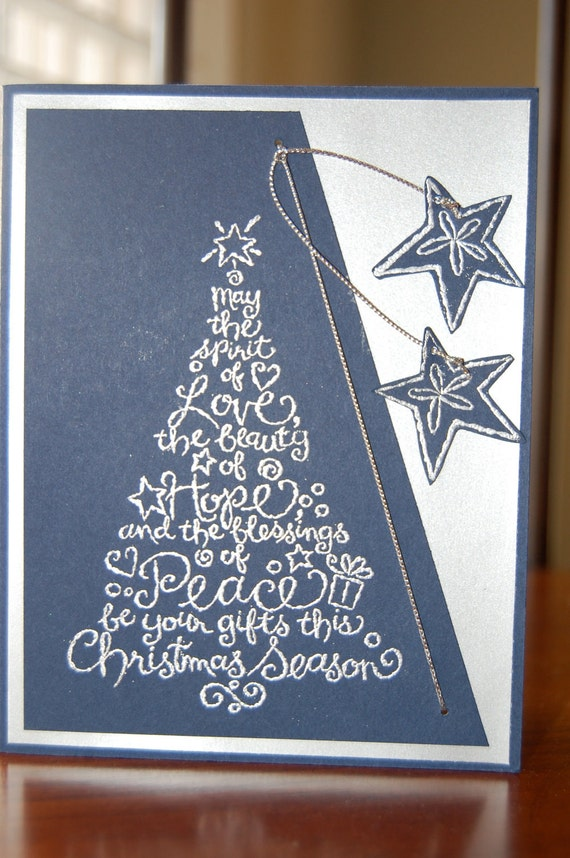 Items similar to elegant navy and silver handmade for Elegant homemade christmas cards