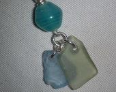 March charm double beach glass pendant