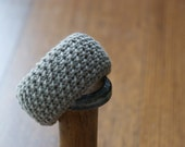 Grey Brown Wide Hand Knitted Bangle