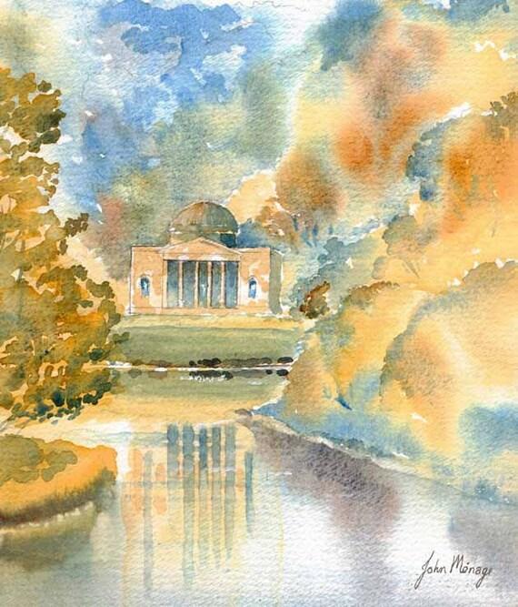 Watercolour Print The Pantheon Stourhead Gardens