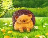 Happy Hedgehog art print, Newborn Art, Baby's Bedroom Illustration, Nursery Decor, Baby Gift, Nursery Art Print, Hedgehog Art, Animal Art