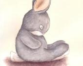 ORIGINAL illustration Sleepy Grey bunny