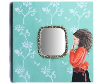 Frame Mirror Beautiful Hand Painted Shabby Chic Mirror