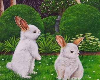 White Bunnies Art Print from an original acrylic painting by Irene Owens
