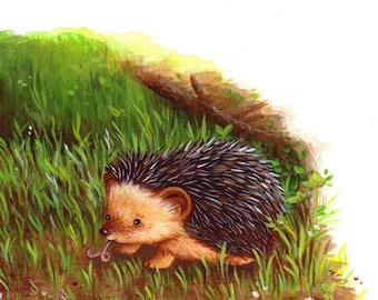 Art for Nursery Hedgehog Having Breakfast