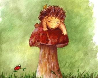 Hedgehog Nursery Art Hedgehog Climbing a Giant Mushroom