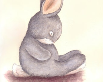 Nursery Art Print, Sleepy Grey Bunny