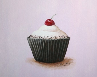 Cupcake Art, Kitchen Art, Cherry Cupcake Print 8x8