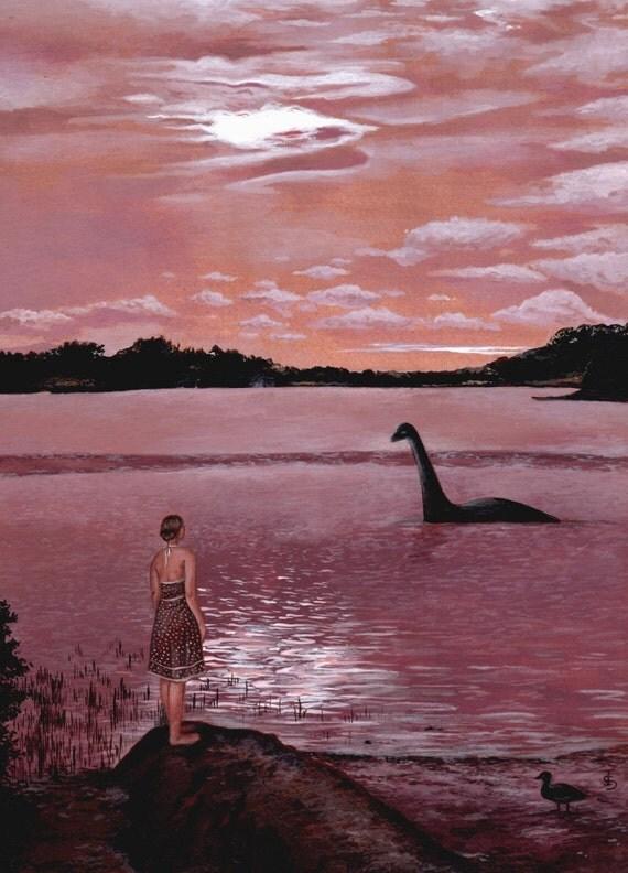 Meeting Nessie, Art Print, Wall Art, Bedroom Decor, Girls Bedroom Art, Whimsical Art, Home Decor, Girls Gift, Quirky Art, Loch Ness Monster