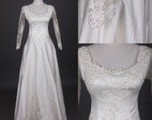 Custom make Vintage Royal Wedding Dress A LINE Bridal Gown Bridesmaid  Lace Flower Long Sleeves Formal Evening Dress