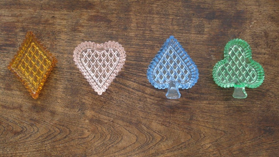 Playing Cards With Glass glass bowls heart dice 70s