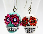 Skull in a-day is the day of the dead earrings stone ES0010