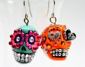 Skull in a-day is the day of the dead earrings stone ES0015