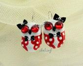 OWL NIGHT of handmade is red big eye earrings EW0007