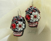 Skull in a-day is the day of the dead red eye and flower earrings EP0014