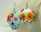 Skull in a-day is the day of the dead earrings stone ES0059