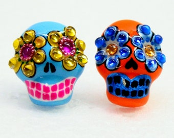 Skull in a-day is the day of the dead earrings E0001
