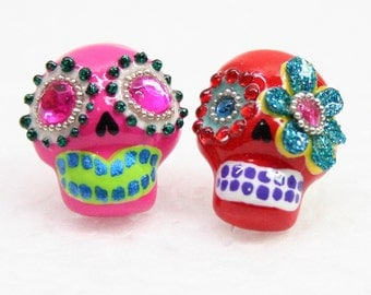 Skull in a-day is the day of the dead earrings E0005
