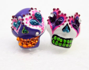 Skull in a-day is the day of the dead earrings E0012