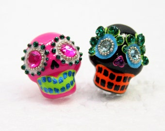 Skull in a-day is the day of the dead earrings E0020