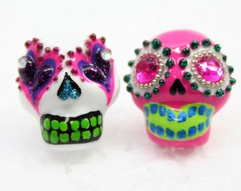 Skull in a-day is the day of the dead earrings E0023