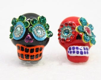Skull in a-day is the day of the dead earrings E0031
