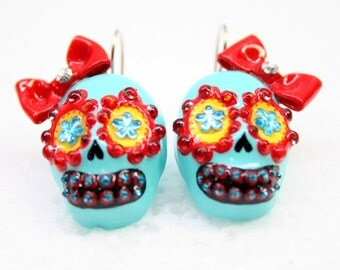 Skull in a-day is the day of the dead earrings EP0002