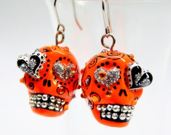 Skull in a-day is the day of the dead earrings stone ES0002