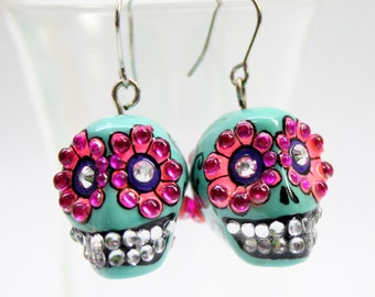 Skull in a-day is the day of the dead earrings stone ES0003
